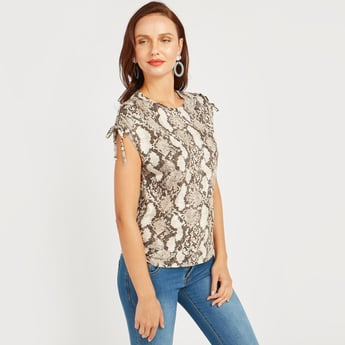 Printed Top with Round Neck and Tie Ups