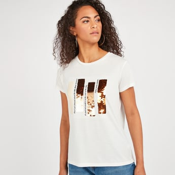 Solid T-shirt with Short Sleeves and Sequin Detail