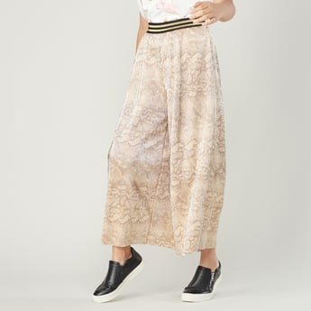 Textured Culottes with Striped Waistband