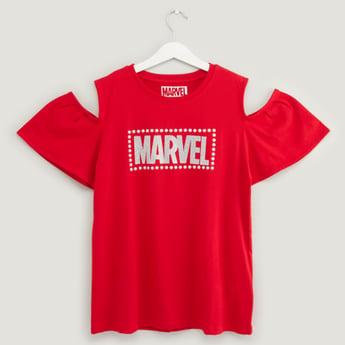 Marvel Print Cold Shoulder T-shirt with Round Neck