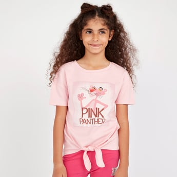 Pink Panther T-shirt with Round Neck and Short Sleeves