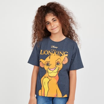 The Lion King Print T-shirt with Round Neck and Short Sleeves
