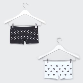 Set of 2 - Heart Print Briefs with Elasticised Waistband
