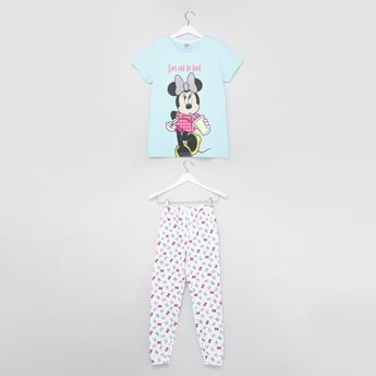 Minnie Mouse Print Round Neck T-shirt and Pyjama Set