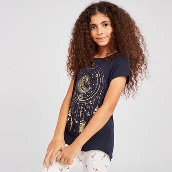 Ramadan Graphic Print T-shirt with Round Neck and Short Sleeves