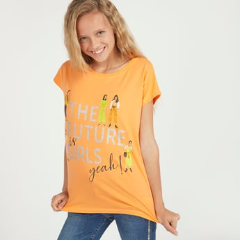 Future Girl Print T-shirt with Short Sleeves