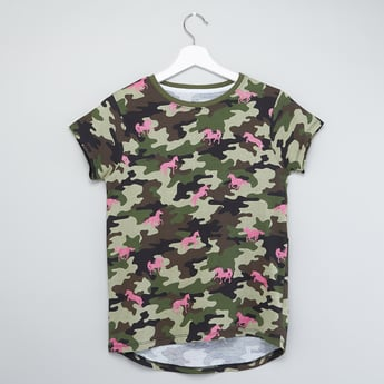 Camouflage Print T-shirt with Cap Sleeves