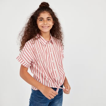 Striped Shirt with Short Sleeves and Front Knot