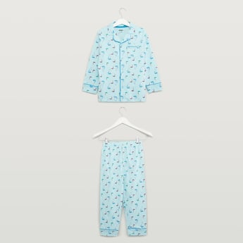 Printed Long Sleeves Shirt and Full Length Pyjama Set