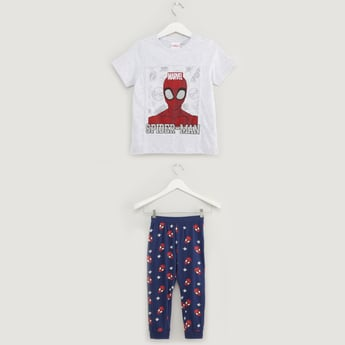 Spider-Man Print Round Neck T-shirt and Full Length Pyjama Set