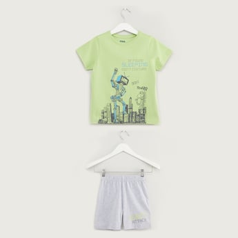 Robot Print Short Sleeves T-shirt with Shorts