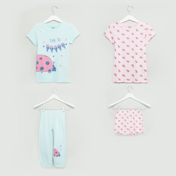 Printed 4-Piece Nightwear Set