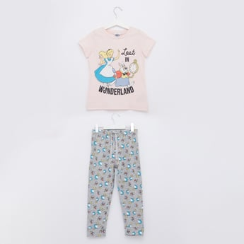 Alice In Wonderland Print Round Neck T-shirt and Pyjama Set