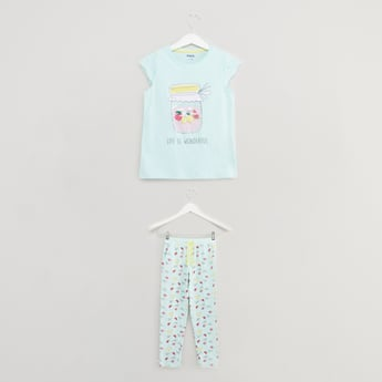 Fruit Smoothie Print T-shirt and Pyjama Set