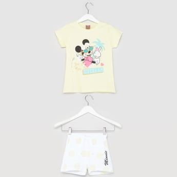 Minnie Mouse Print Round Neck T-shirt with Shorts
