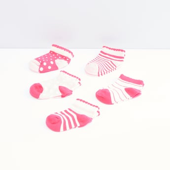 Assorted Printed Ankle Length Cotton Socks -Set of 5