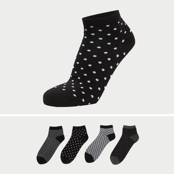 Set of 4 - Printed Ankle-Length Socks with Cuffed Hem