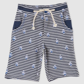 Stripped Pocket Detail Shorts with Elasticised Waistband