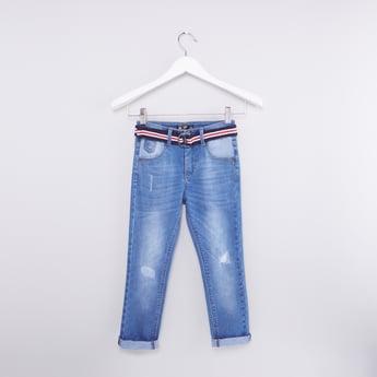 بنطال جينز بارز الملمس بجيوب وحزام