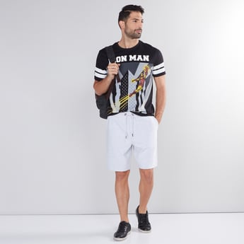 Iron Man Printed T-Shirt with Round Neck and Short Sleeves