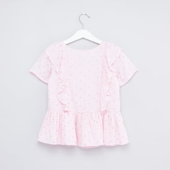 Printed Peplum Top with Short Sleeves and Ruffles