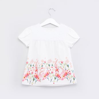 Floral Printed Top with Round Neck and Cap Sleeves
