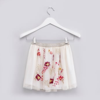 Embroidered Skirt with Elasticised Waistband