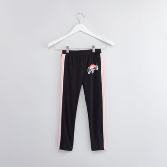 Placement Print Full Length Track Pants with Elasticated Waistband