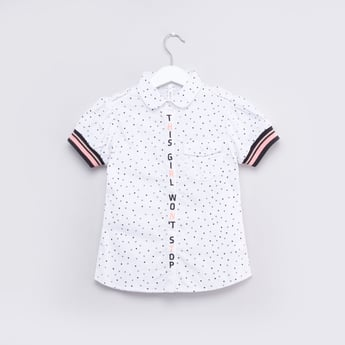 Printed Collared Shirt with Short Sleeves