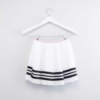 Striped Pleated Skirt with Elasticised Waistband