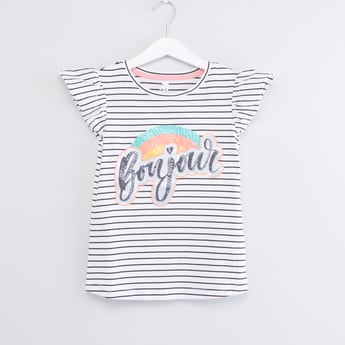 Striped T-shirt with Round Neck and Cap Sleeves