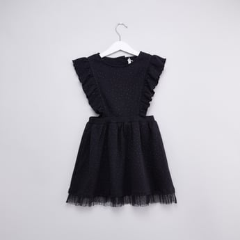 Textured Sleeveless Dress with Round Neck and Ruffle Detail