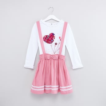 Embroidered Round Neck Top with Bow Applique Pinafore
