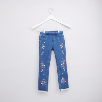 Embroidered Full Length Denim Jeggings with Elasticised Waistband