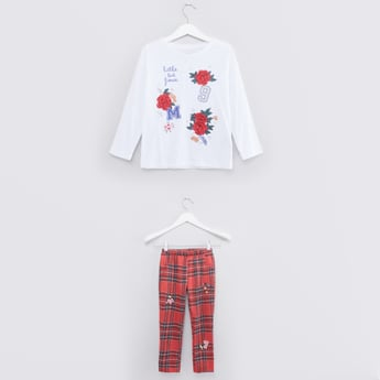 Embroidered Round Neck Top with Checked Pants Set