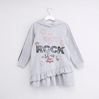 Textured Embellished Sweatdress with Hood