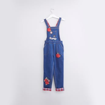 Embroidered Dungaree with Pocket Detail and Checked Hem