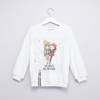 Graphic Printed Sweatshirt with Long Sleeves