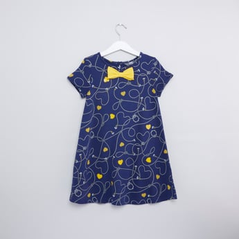 Printed Dress with Bow Applique and Short Sleeves