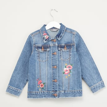 Embroidered Denim Jacket with Spread Collar and Long Sleeves