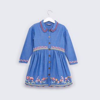 Embroidered Chambray Dress with Long Sleeves