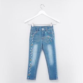 Floral Embroidered Jeans with Button Closure