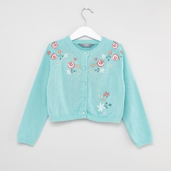 Embroidered Cardigan with Round Neck and Long Sleeves