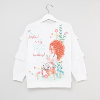 Graphic Print Round Neck Top with Long Sleeves and Frill Detail