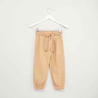 Plain Pants with Pocket Detail and Tie Up Belt