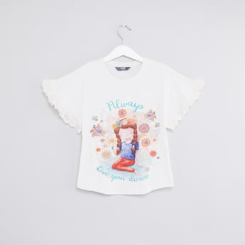 Graphic Printed T-shirt with Round Neck and Ruffle Sleeves