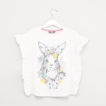 Graphic Printed T-shirt with Rufffle and Applique Detail