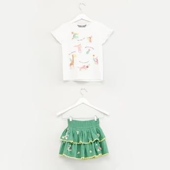 Printed Cap Sleeves T-shirt with Embroidered Skirt