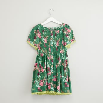 Shirred Floral Print Dress with Square Neck