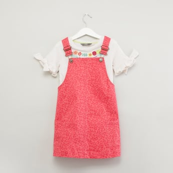 Floral Printed Short Sleeves T-shirt with Pinafore